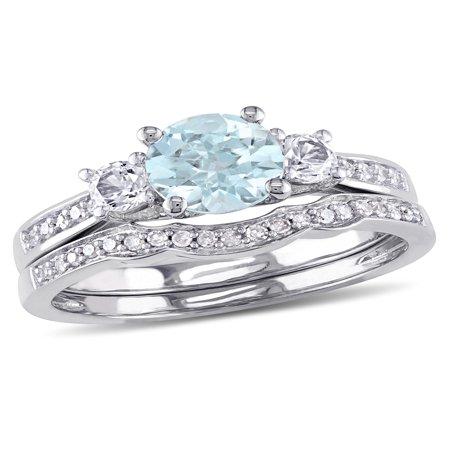1 Carat T.G.W. Aquamarine and Created White Sapphire and 1/7 Carat T.W. Diamond 10kt White Gold Bridal -