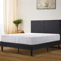 "GranRest 14"" Dura Metal Faux Leather Platform Bed Frame, Full"