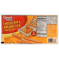 (3 Pack) Great Value Cheese Dip & Breadsticks Snacks, 5 oz, 5 Count