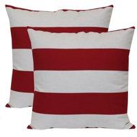 """Mainstays Outdoor Toss Pillow, 16"""" x 16"""", Balboa Stripe - Set of 2"""