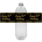 50th Birthday Water Bottle Labels 24 Ct