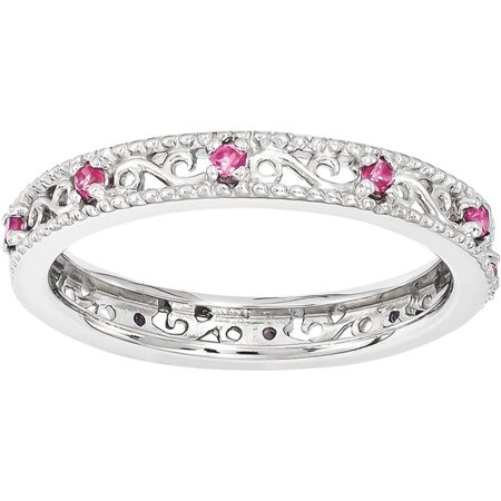 Pink Sapphire Ribbon Ring (Created Pink Sapphire Sterling Silver Ring)