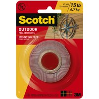 Scotch Outdoor Mounting Tape, 1 in. x 60 in., Gray, 1 Roll/Pack