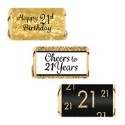 Black and Gold 21st Birthday Party Mini Candy Bar Wrapper Stickers, 54 Count