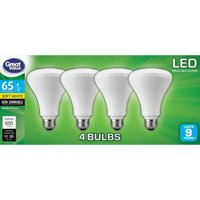 Great Value LED Light Bulb, 8W (65W Equivalent) BR30, Soft White, 4-Pack