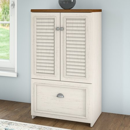 - Bush Furniture Fairview Storage Cabinet with Drawer in Antique White and Tea Maple