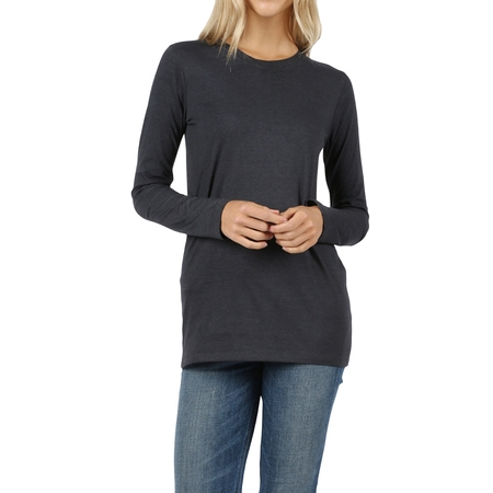 Women Basic Round Crew Neck Long Sleeve Stretch Cotton Spandex (Ladies Long Sleeve Crew Neck T Shirts)