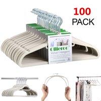 Ollieroo 100 Pack Non Slip Velvet Hangers Set Heavy Duty Clothes Hanger with 360° Swivel Hook,Beige