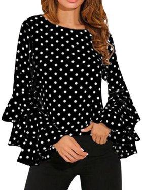 Sweetsmile Women Polka Dots Flare Sleeve Blouse Elegant Lady Long Sleeve Chiffon Tops Plus Size Clearance Sale!