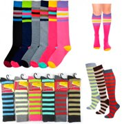 b9210b41987 12 Pairs Knee High School Uniform Socks Stripes Dance Womens Girls Soccer  9-11