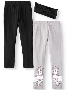 Solid and Printed Leggings with Headband, 2-Pack (Little Girls & Big Girls)
