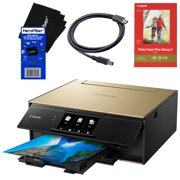 Canon Pixma TS9120 Wireless Inkjet All-in one Printer (Gold) with Scan, Copy, Mobile Printing, Airprint & Google Cloud + Set of Ink Tanks + Photo Paper Sample + USB Printer Cable + HeroFiber Cloth