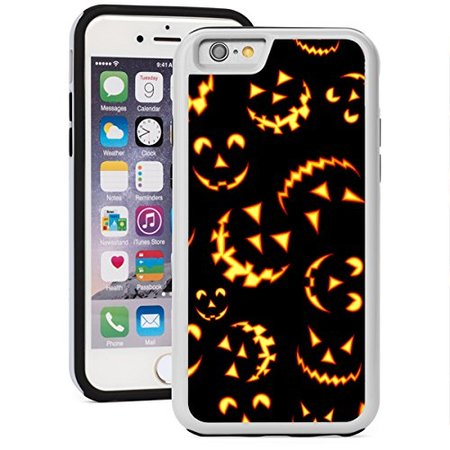 For Apple iPhone Shockproof Impact Hard Soft Case Cover Halloween Jack O Lantern Faces Pattern (White For iPhone - Halloween Face Paint Jack O Lantern