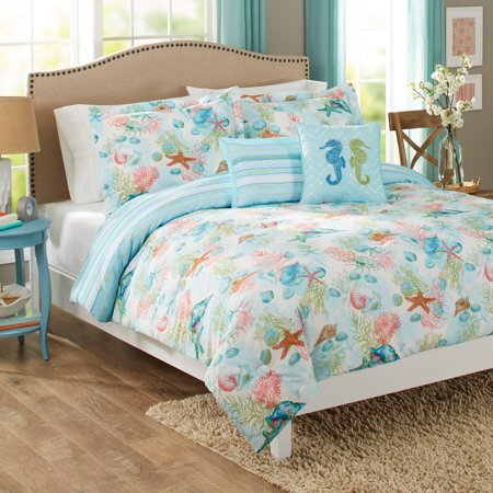 Croscill Queen Size Comforter - Better Homes & Gardens Full or Queen Beach Day Comforter Set, 5 Piece