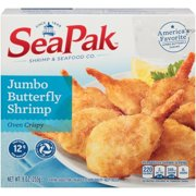 SeaPak Jumbo Butterfly Shrimp with Oven Crispy Breading, Delicious Seafood, Frozen, 9 Ounces