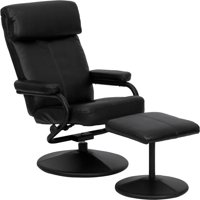 Flash Furniture Contemporary Leather Recliner and Ottoman with Leather Wrapped Base, Multiple Colors