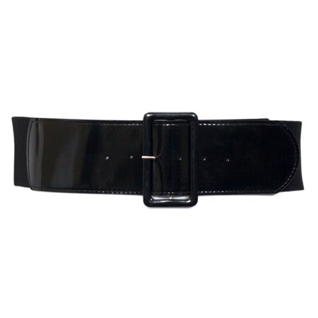 eVogues Plus Size Wide Patent Leather Fashion Belt Black - Floral Patent Belt