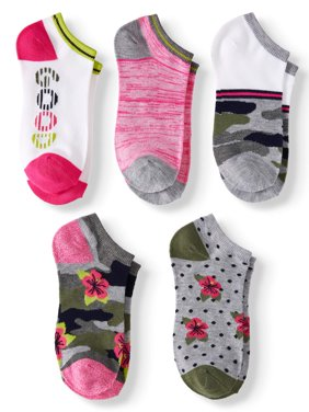 """Women's """"Good"""" Camo and Floral No Show Socks, 5 Pairs"""