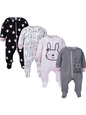 Assorted Zip Front Sleep N Play Sleepers, 4pk (Baby Girl)