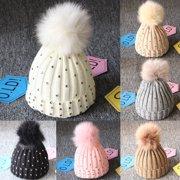 79fe385ab275 Newborn Baby Boy Girls Winter Warm Double Fur Pom Bobble Knit Beanie Hats  Cap