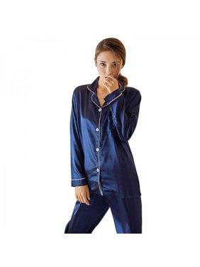 Sweetsmile 2Pcs/Set Women Sexy Satin Lace V-Neck Nightdress Sleepwear Pajamas