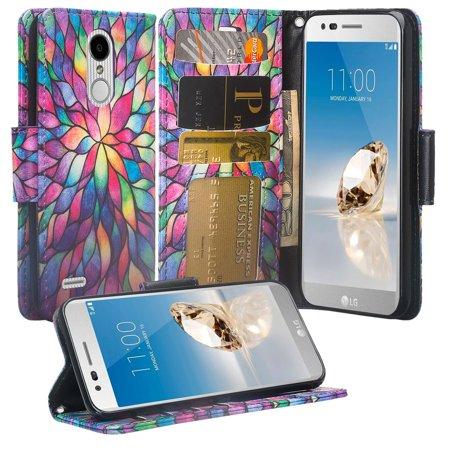 LG Aristo 2 Plus/Rebel 4/Tribute Dynasty/Rebel 3 LTE/Zone 4/Fortune 2/K8 Plus/Risio 3/Aristo 2 Cute Wallet Phone Case [Kickstand] for Girls Women - Rainbow - Cave Women