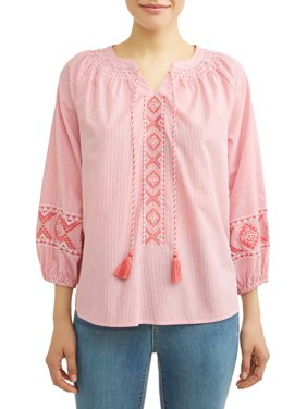 Women's Embroidered Smock Neck Top