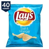 Lay's Potato Chips Snack Pack, Salt & Vinegar, 1 oz Bags, 40 Count