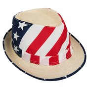 4b1e5b408287b Mozlly Adult Unisex Patriotic USA American Flag Vented Fedora Hat Photo  Prop. Price