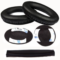 Boses Around-Ear AE2, AE2i, AE2w Headphone Replacement Ear Pad + Headband Cover / Ear Cushion / Ear Cups / Ear Cover / Earpads Repair Parts / Headband Protector (Black)