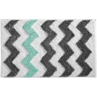 "InterDesign Microfiber Chevron Bathroom Shower Rug, 34""x 21"""