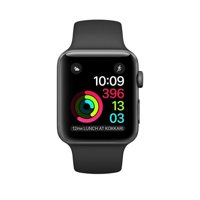 Refurbished Watch Series 2 42mm Apple Space Gray Aluminum Case Black Sport Band MP062LL/A