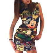99dc7930fa1638 Women Sleeveless Bodycon Short Mini Dress Camo Mickey Evening Party Clubwear  Long Tops Summer