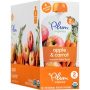 Plum Organics Stage 2 Apple & Carrot Organic Baby Food, 4 oz, 6 count