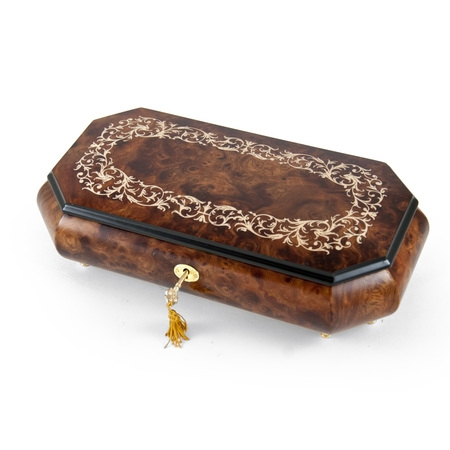 Handcrafted Cut-Corner Music Box With Arabesque Wood Inlay Design - Amazing Grace, Judy (Wood Inlay Designs)