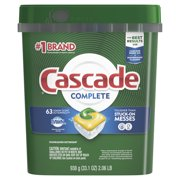 Cascade Complete ActionPacs Dishwasher Detergent, Lemon Scent, 63 count