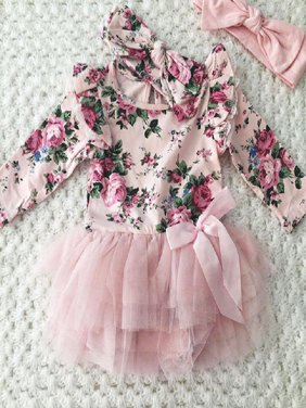 Casual Newborn Infant Baby Girls Outfit Floral Lace Romper Headband Set Clothes