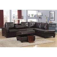Emily 3 Piece Faux Leather Reversal Sectional Sofa Set with Storage Ottoman, Dark Brown