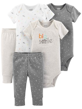 Short Sleeve Bodysuits & Pants, 5pc Set (Baby Boys or Baby Girls Unisex)