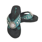 8da13c7a525e9c Montana West Women Flip Flops Wedged Bling Sandals Large Floral Concho  Turquoise