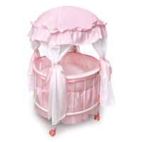"""Badger Basket Royal Pavilion Round Doll Crib with Canopy and Bedding - Pink/White - Fits American Girl, My Life As & Most 18"""" Dolls"""