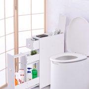 Narrow Wood Floor Bathroom Storage Cabinet Holder Organizer
