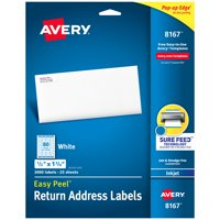 """Avery Easy Peel Return Address Labels, Sure Feed™Technology, Permanent Adhesive, 1/2"""" x 1-3/4"""", 2,000 Labels (8167)"""