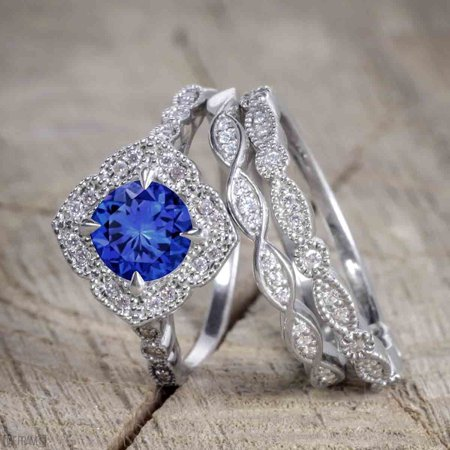 Diamond & Sapphire Wedding Ring - 2 Carat Round Cut Real Sapphire and Diamond Wedding Trio Ring Set with Engagement Ring and 2 Wedding Bands in 18k Gold Over Silver