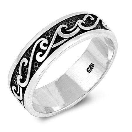 Antiqued Wave Black Wedding Ocean Ring New .925 Sterling Silver Band Size - Antique Style Wedding Band