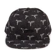 879b28b4dc4 Supreme Denim Jacquard UZI Snapback 5-Panel Hat Black Grey FW15H66