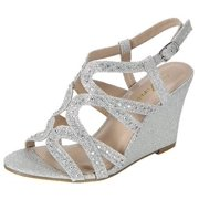 7e030767e Fairway-35 Women Party Evening Dress Bridal Wedding Rhinestone Wedge Sandal  Shoes Silver