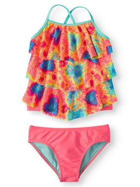 Tie Dye Printed Crochet Tankini Swimsuit (Little Girls, Big Girls & Big Girls Plus)