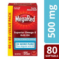 MegaRed Superior Omega-3 Krill Oil Softgels, Extra Strength, 500 mg, 80 Ct