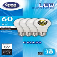 Great Value LED General Purpose Bulbs, 9W (60W Equivalent), Soft White Shatter Resistant, 4-count